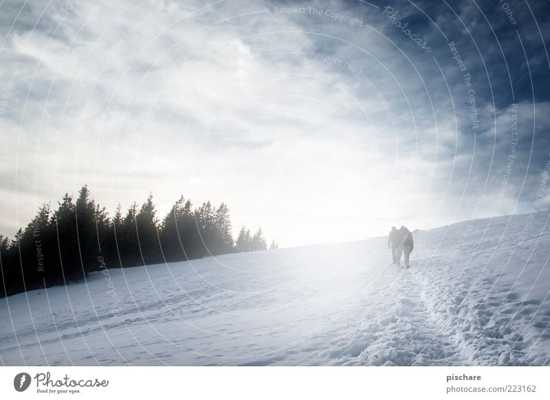 mountain air Tourism Trip Winter Snow Mountain Hiking 2 Human being Nature Sky Clouds Infinity Freedom Far-off places Colour photo Exterior shot Day Twilight