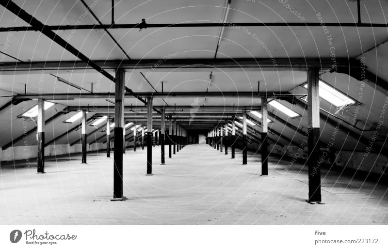 room04 House (Residential Structure) Industrial plant Factory Manmade structures Building Wall (barrier) Wall (building) Roof Old Dark Black White Wood Attic