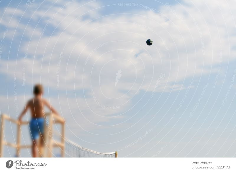 Human being Child Sky Summer Vacation & Travel Clouds Playing Air Flying Tourism Leisure and hobbies Infancy Observe Fan Summer vacation Volleyball (sport)