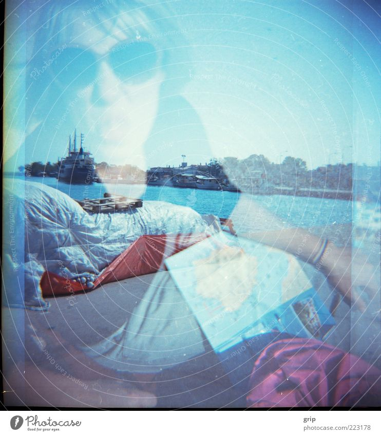 Human being Water Blue Vacation & Travel Sun Summer Joy Landscape Funny Watercraft Happiness Beautiful weather Passion Brash Lomography Summer vacation