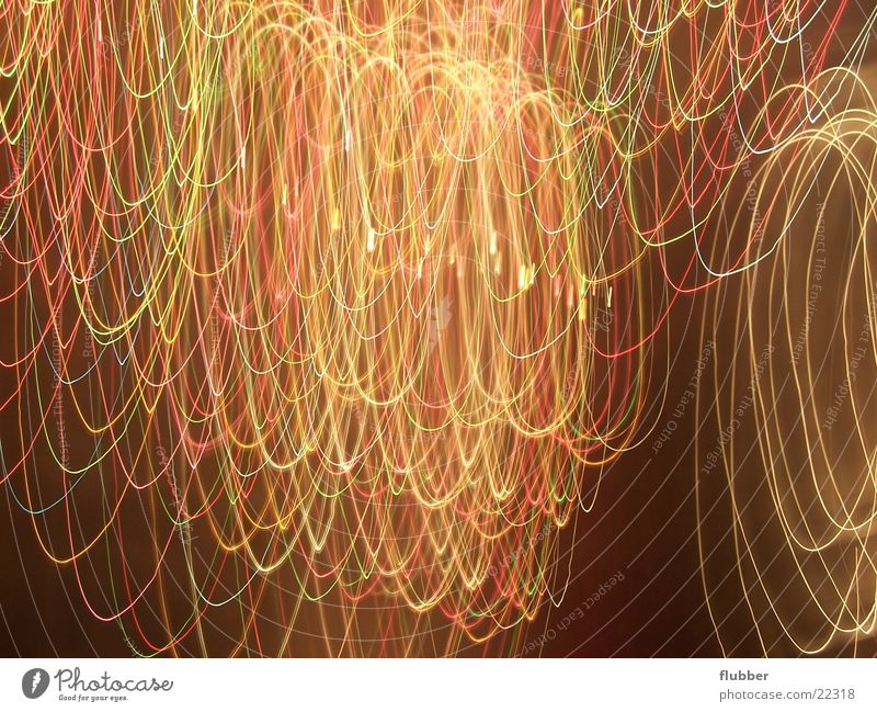 Chaos of Lights I Long exposure Lamp Night Multicoloured Movement