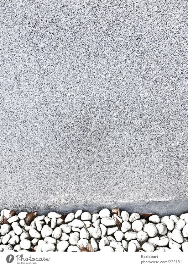 Calm Wall (building) Gray Stone Wall (barrier) Background picture Facade Plaster Edge Stagnating Section of image Pebble Stony Abstract Copy Space left