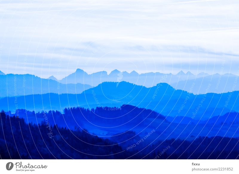 Blue Mountains Panorama (View) Landscape Sky Alps Mountain range Bernese Oberland Canton Bern Switzerland Far-off places Vantage point Nature Hiking Alpine