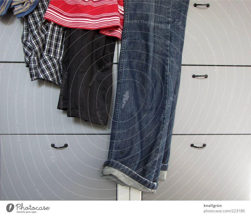 Blue Red Gray Fashion Arrangement Lie Modern Clothing Living or residing T-shirt Jeans Shirt Pants Hang Hip & trendy Striped