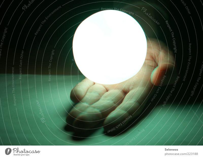 Human being Hand Dark Bright Small Glittering Fingers Energy industry Future Technology Kitsch Sphere Illuminate Advancement