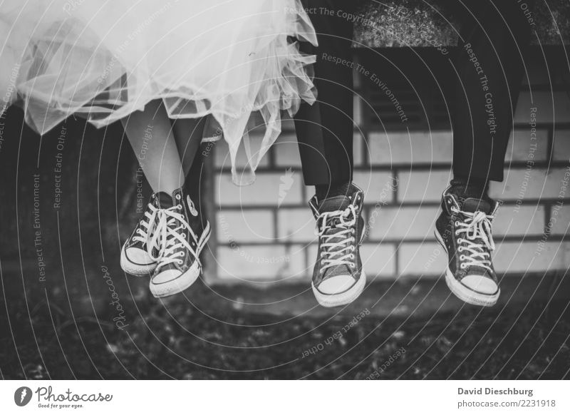 Wedding with Chucks Masculine Feminine Couple Partner Life Legs Feet Pants Dress Footwear Sneakers Happy Safety (feeling of) Agreed Together Love Infatuation