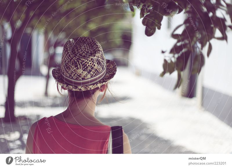 The Girl From Albufeira. Feminine Young woman Youth (Young adults) Esthetic Vacation mood Vacation photo Vacation destination Romance Hat Wanderlust Portugal