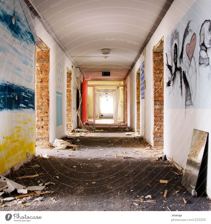 unknown spoilt Manmade structures Building Architecture Corridor Hallway Concrete Living or residing Old Sharp-edged Uniqueness Broken Multicoloured Perspective