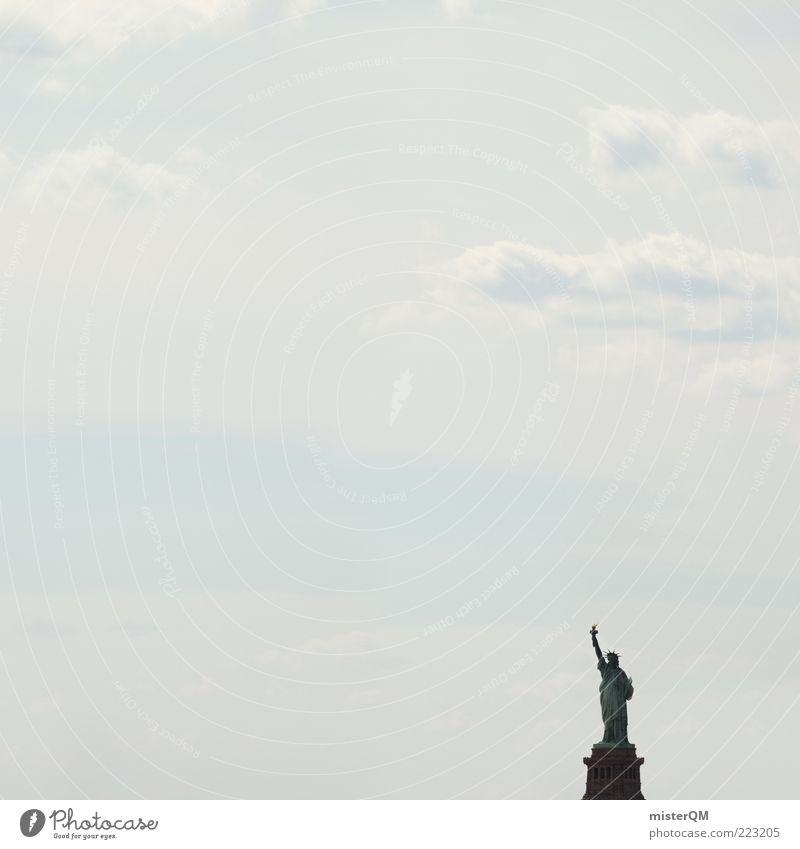 Sky Vacation & Travel Freedom Dream Art Power Esthetic Hope USA Travel photography Symbols and metaphors Sign Statue Landmark American Flag Wanderlust