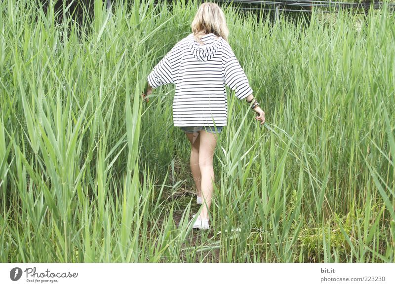Human being Nature Youth (Young adults) White Green Summer Black Feminine Coast Spring Legs Blonde Going Leisure and hobbies To go for a walk Individual