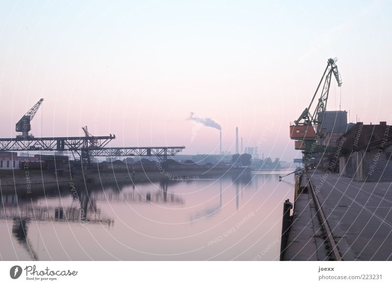 Basin II Industry Sky Cloudless sky River bank Harbour Old Blue Gray Pink Red Calm Break rhine harbour Karlsruhe Dockside crane Jetty Colour photo Exterior shot