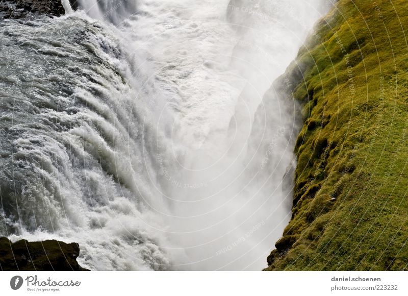 gullfoss Vacation & Travel Tourism Far-off places Freedom Environment Nature Landscape Elements Water River Waterfall Green White Iceland Scandinavia Gullfoss