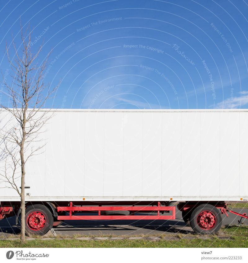 hangers Environment Sky Cloudless sky Beautiful weather Tree Transport Vehicle Truck Trailer Metal Line Stripe Old Simple White Pure Stagnating Logistics