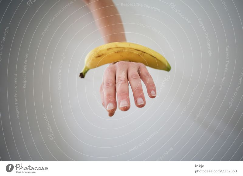 balanced diet 1 Banana Hand Balance Balanced Nutrition Colour photo Fresh Exceptional Bright background Isolated Image Copy Space Mature Lie Close-up White