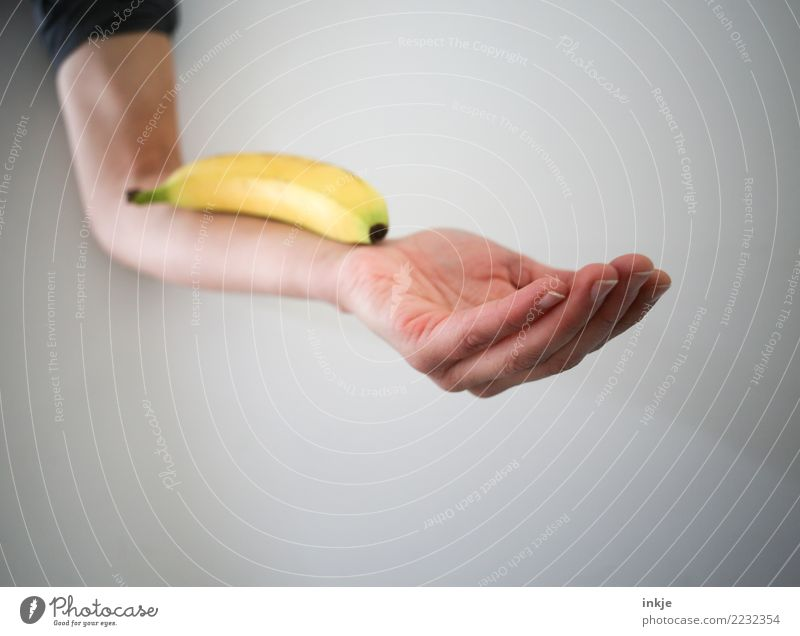 balanced diet 2 Fruit Banana Nutrition Organic produce Vegetarian diet Diet Slow food Arm Hand 1 Human being To hold on Lie Fresh Healthy Yellow Contentment