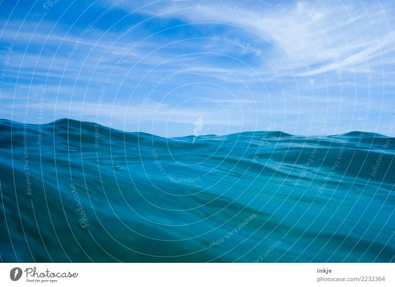 Texture moves to wavy Vacation & Travel Summer Ocean Waves Elements Water Sky Beautiful weather Surface of water Blue Swell Undulating Blue sky Sea water