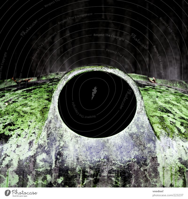 Black Hole Sun Environment Metal Dark Green Hollow Black Holes Recycling container Container Colour photo Exterior shot Deserted Copy Space top Opening