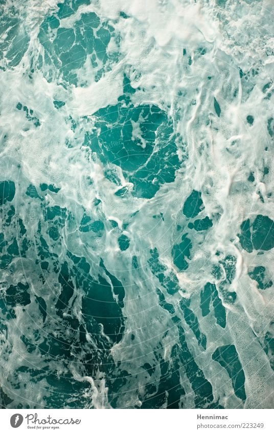 Foam brawl. Whirlpool Nature Water Gale Waves Ocean Fluid Fresh Cold Wet Blue Green White Colour photo Subdued colour Multicoloured Exterior shot Close-up