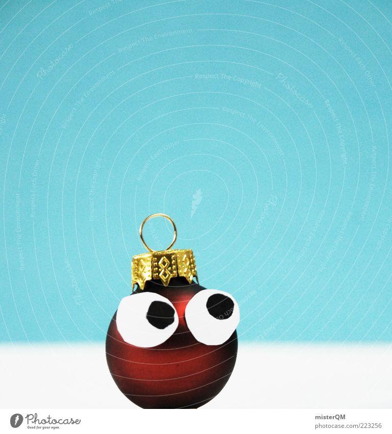 Matschguggl. Art Esthetic Good luck charm Christmas & Advent Christmas decoration Christmas figure Glitter Ball Round Checkmark December Gold Blue Small