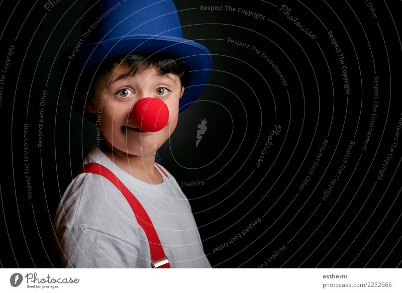 Child with clown nose Human being Joy Lifestyle Funny Emotions Movement Laughter Happy Feasts & Celebrations Party Masculine Infancy Birthday Smiling Happiness