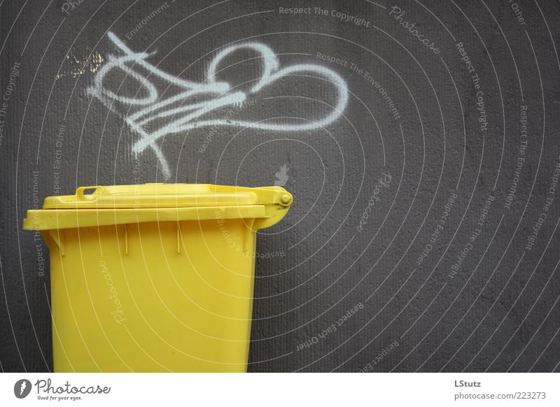 Yellow Environment Graffiti Wall (building) Gray Concrete Simple Plastic Sharp-edged Trash container Daub Scribbles Recycling Waste utilization Dark gray