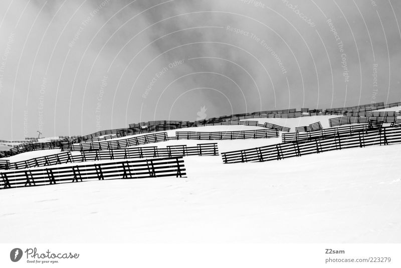 Sky Vacation & Travel Winter Clouds Snow Mountain Gray Landscape Fog Gloomy Simple Alps Fence Snowscape Grating Bad weather