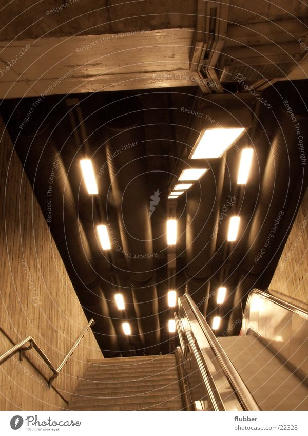 Architecture Concrete Perspective Stairs Underground Subsoil Means of transport Escalator Underground Fluorescent Lights