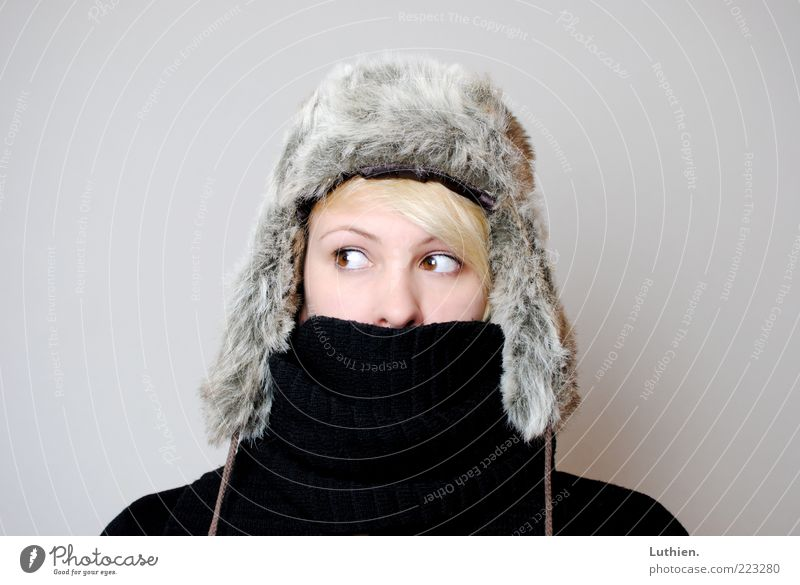 brrr.... Human being Young woman Youth (Young adults) Woman Adults Head 1 Scarf Cap Observe Freeze Blonde Cold Cuddly Gray Black fur cap Winter Colour photo