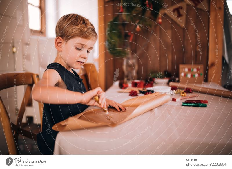 Toddler boy crafting christmas cards and gifts at home Joy Happy Winter Christmas & Advent Child Boy (child) Pen Cute Colour Creativity gift wrap Gift present