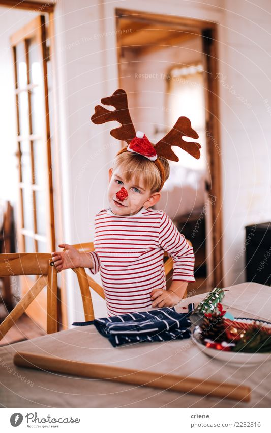 Toddler boy wearing pyjamas and reindeer christmas costume Child Human being Christmas & Advent House (Residential Structure) Joy Lifestyle Boy (child) Small