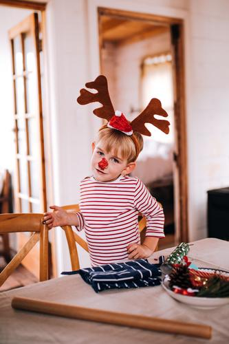 Toddler boy wearing pyjamas and reindeer christmas costume Lifestyle Joy Happy House (Residential Structure) Living room Christmas & Advent Child Human being