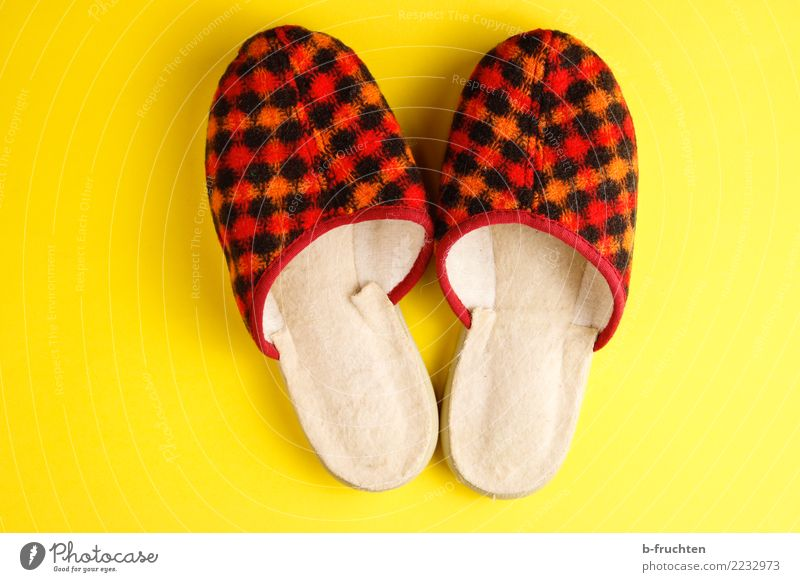 warmly welcome Footwear Slippers Small Retro Yellow Red Whimsical Thrifty Joy Past Infancy Pattern foot scraper Sincere Welcome Feet Colour photo Studio shot