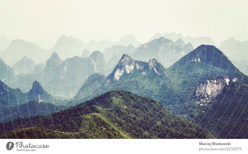 Karst formations landscape around Guilin on a foggy day. Vacation & Travel Tourism Trip Adventure Freedom Camping Mountain Nature Landscape Fog Forest Hill