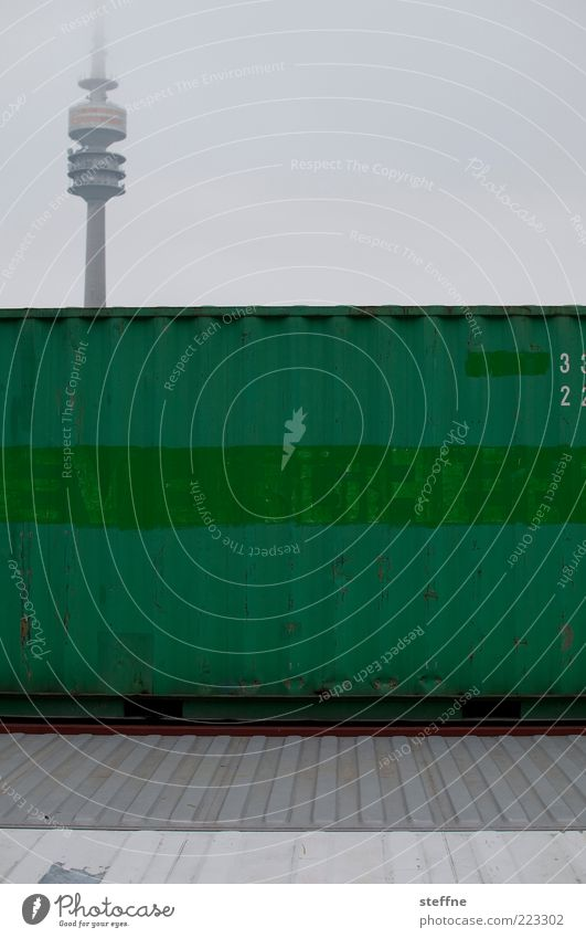 Sky Green Fog Munich Landmark Container Bad weather Graphic Olympic Tower