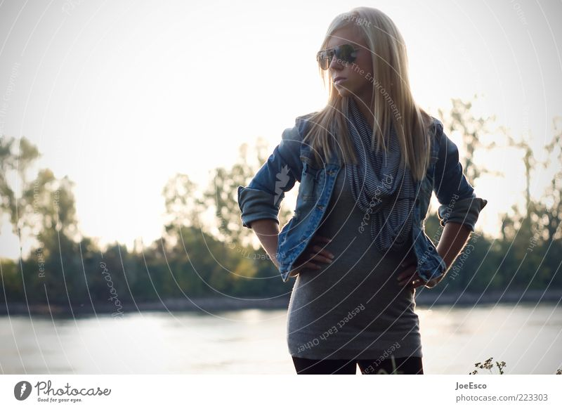Woman Nature Youth (Young adults) Tree Beautiful Summer Life Adults Blonde Fashion Lifestyle Modern Cool (slang) River