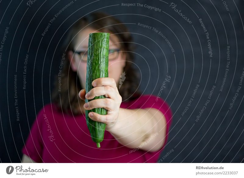 cucumber portrait Food Vegetable Cucumber Nutrition Vegetarian diet Healthy Health care Healthy Eating Overweight Human being Feminine Woman Adults Hand 1