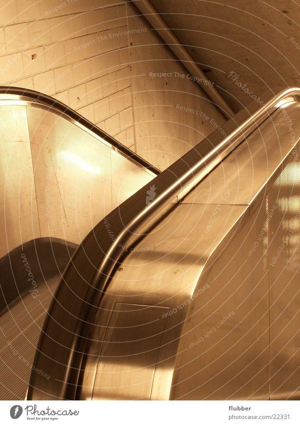 Architecture Metal Empty Banister Upward Downward Underground Chrome Subsoil Escalator Polished Stairs