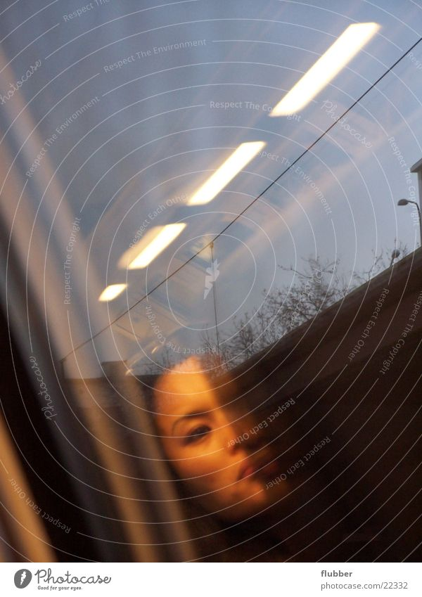 Face Window Glass Transport Railroad Driving Reflection Fluorescent Lights