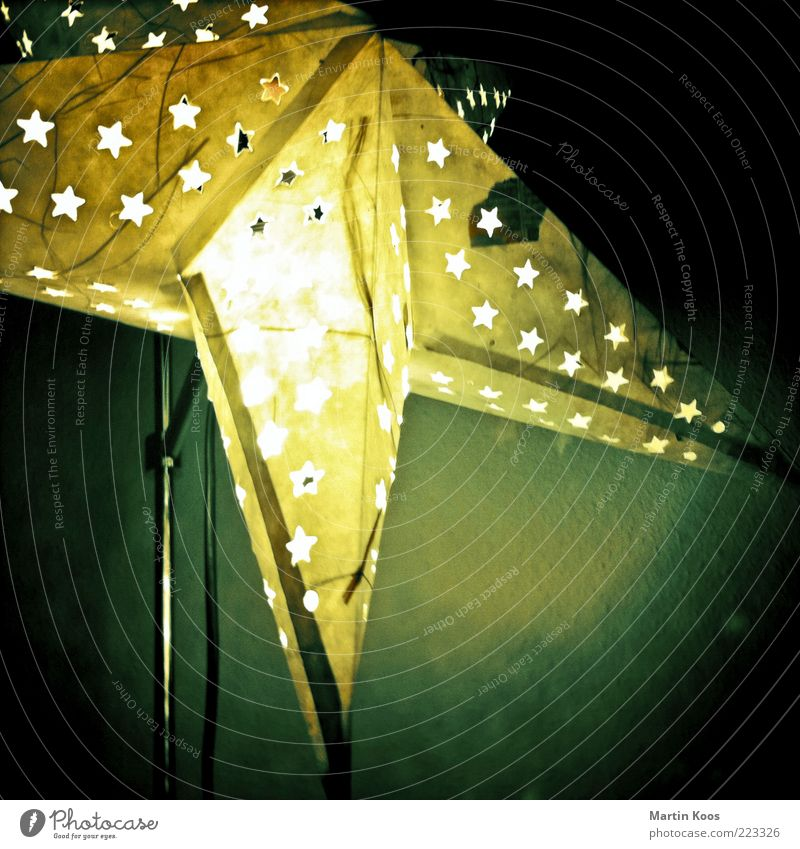 Christmas & Advent Dark Lamp Moody Paper Star (Symbol) Decoration Living or residing Illuminate Square Creativity Living room Cozy Ornament Embellish