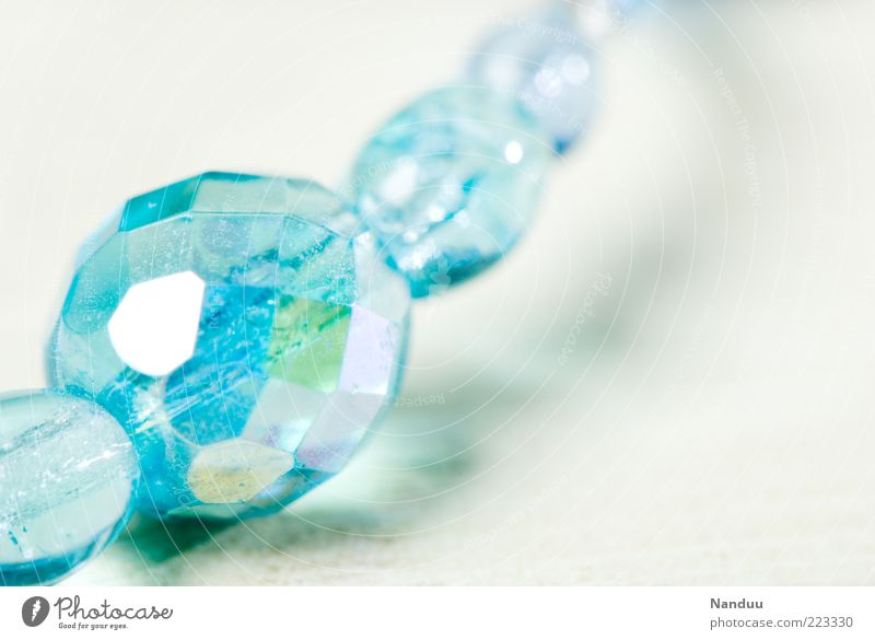 Girls photo in youth colours Glass Esthetic Jewellery Pearl Glittering Depth of field Luxury Beautiful Chain Light blue Turquoise Brilliant Deserted Ground down