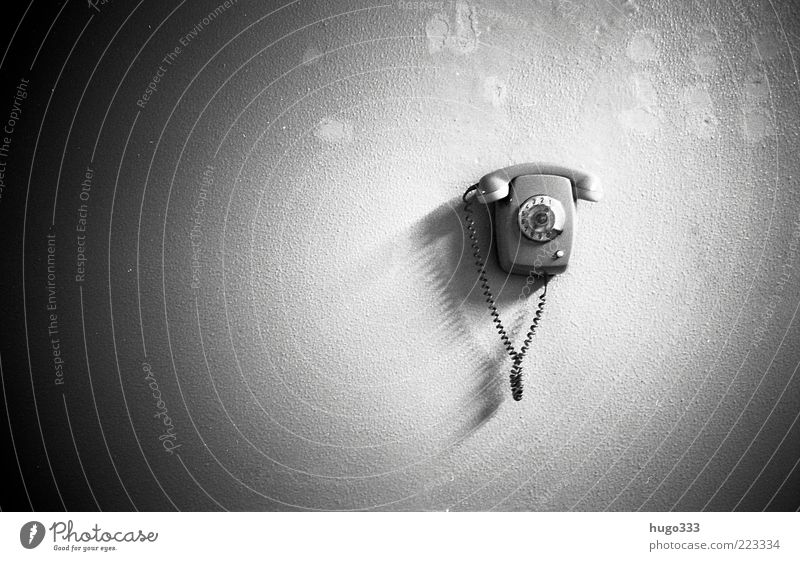 The call Telephone Cable Wall (barrier) Wall (building) Black White Rotary dial Select Digits and numbers Plastic Receiver Connection Gadget Contact