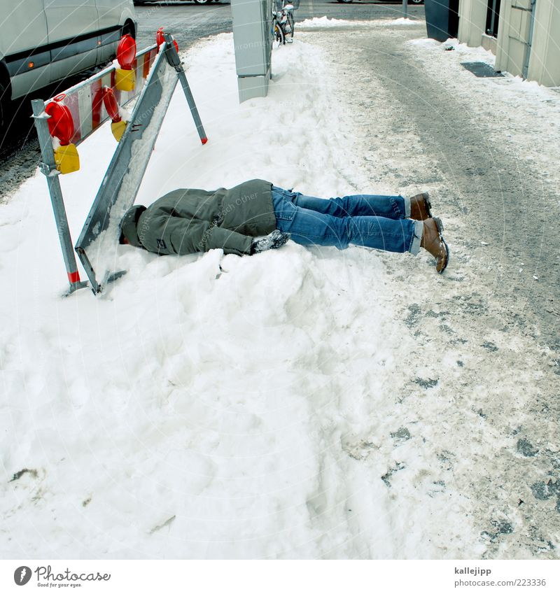 snow chaos Human being Man Adults 1 Winter Climate Weather Bad weather Ice Frost Snow Jeans Jacket Footwear To fall Accident Stumble Slip Sudden fall