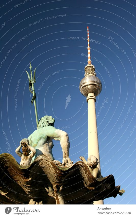 Neptune's trident vs. Berlin's single jag Sky Beautiful weather Alexanderplatz Downtown Berlin Germany Europe Capital city Places Tower Manmade structures