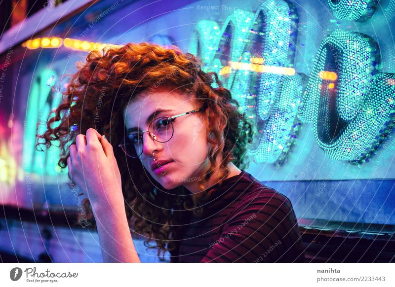 Young woman at night party with neon lights Lifestyle Style Beautiful Night life Entertainment Event Going out Feasts & Celebrations Human being Feminine