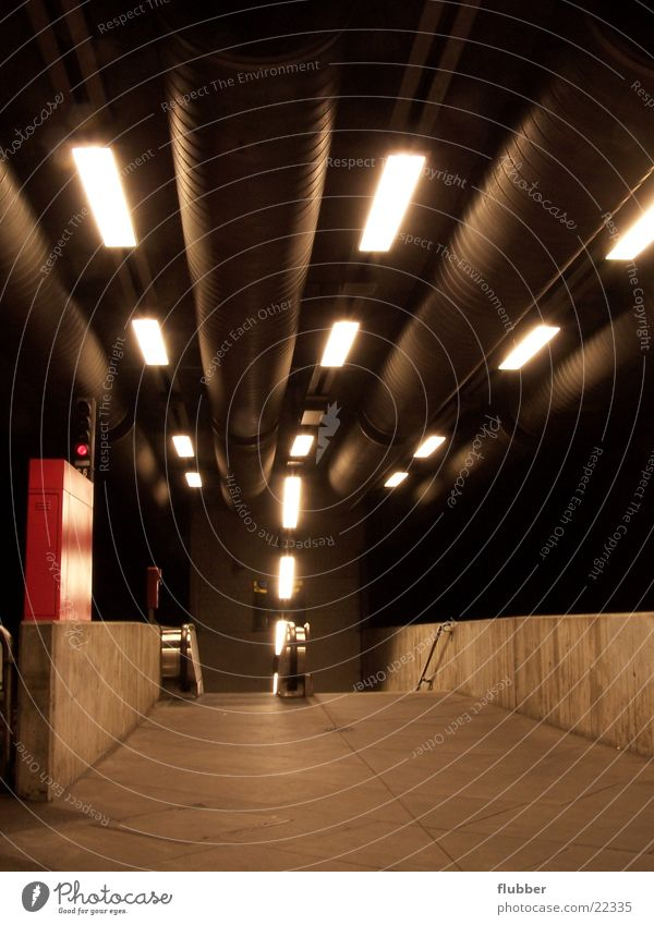 Architecture Concrete Perspective Underground Downward Subsoil Means of transport Underground Fluorescent Lights