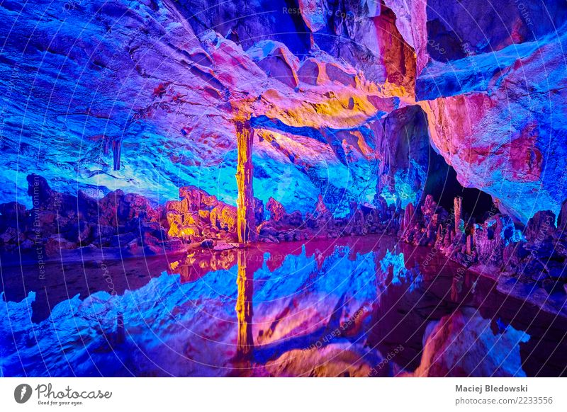 Colorful cave Nature Vacation & Travel Blue Beautiful Red Natural Tourism Stone Lake Rock Trip Authentic Uniqueness Illuminate China Cave
