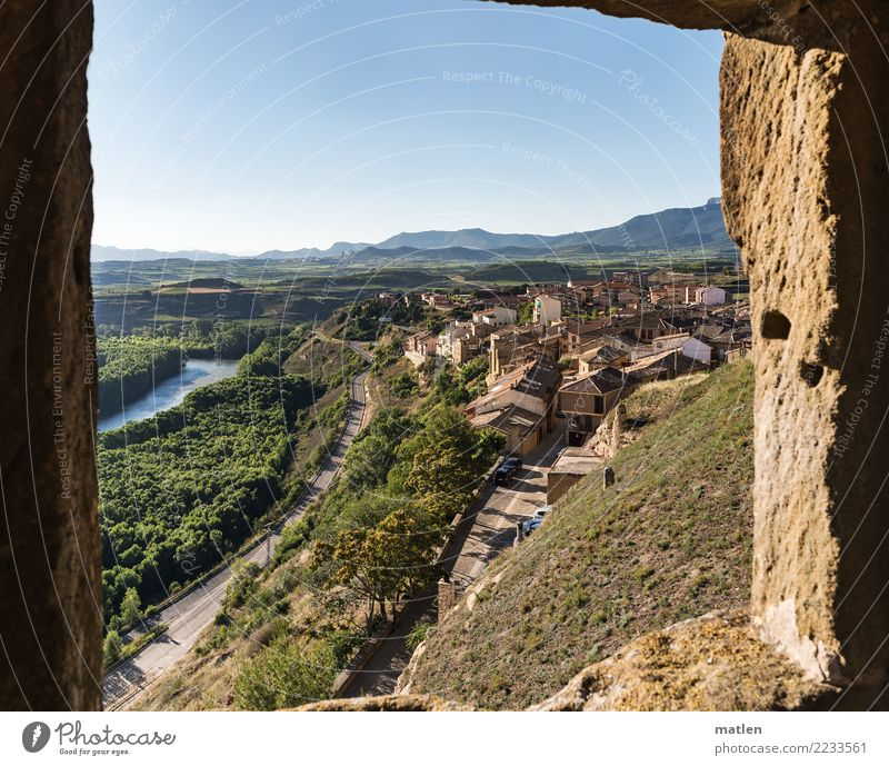 Rioja Landscape Plant Sky Cloudless sky Horizon Summer Beautiful weather Tree Rock Mountain River Small Town Old town Architecture Wall (barrier)