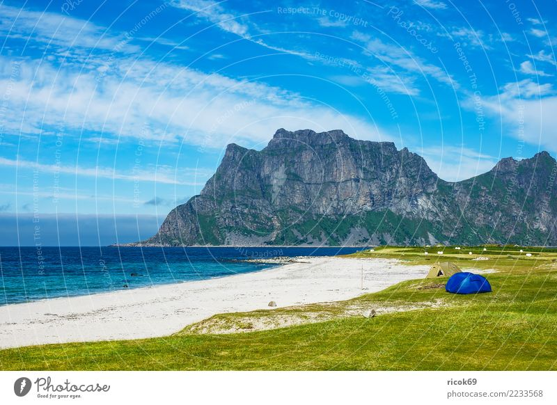 Utakleiv Beach on the Lofoten in Norway Vacation & Travel Tourism Camping Ocean Mountain Nature Landscape Water Clouds Grass Meadow Rock Idyll Environment