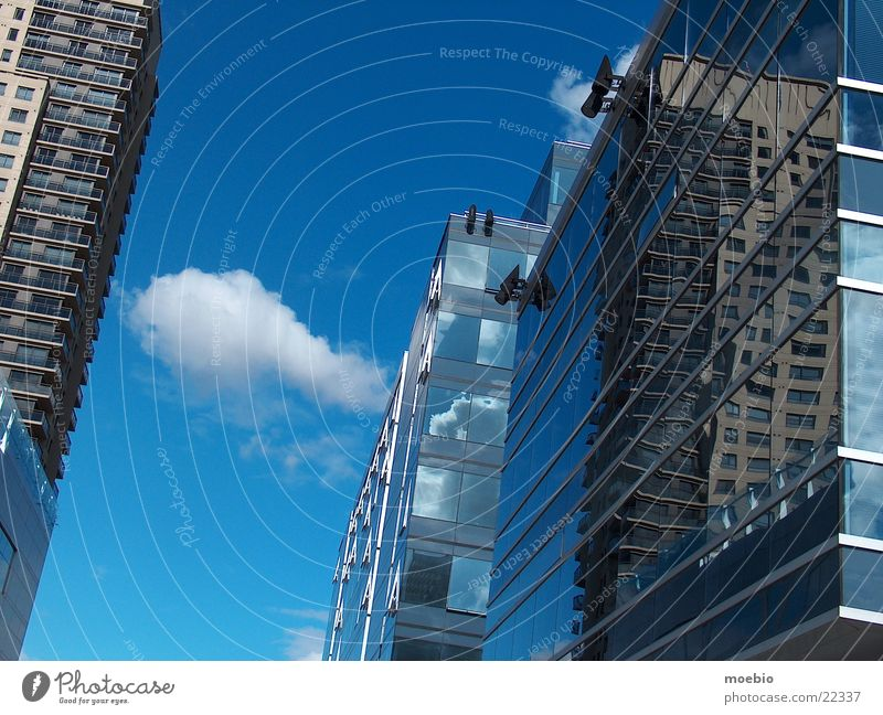 Clouds Building Architecture Glass Mirror Asymmetry