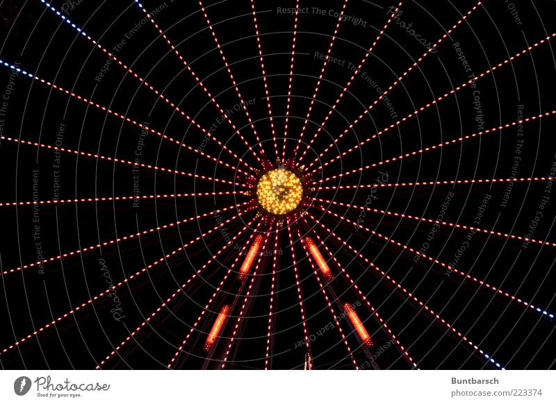 Blue Red Yellow Movement Bright Glittering Gold Middle Illuminate Rotate Symmetry Anticipation Accuracy Pattern Ferris wheel Carousel